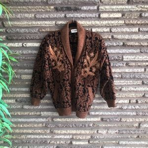 Betabel Vintage Rust Embroidered Cardigan Sweater